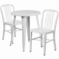 Flash Furniture 24'' Round White Metal Indoor-Outdoor Table Set with 2 Vertical Slat Back Chairs