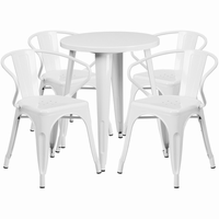 Flash Furniture 24'' Round White Metal Indoor-Outdoor Table Set with 4 Arm Chairs