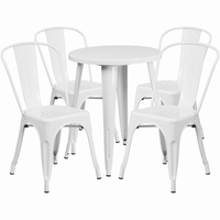 Flash Furniture 24'' Round White Metal Indoor-Outdoor Table Set with 4 Cafe Chairs