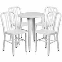 Flash Furniture 24'' Round White Metal Indoor-Outdoor Table Set with 4 Vertical Slat Back Chairs