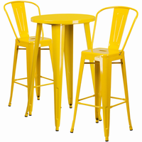 Flash Furniture 24'' Round Yellow Metal Indoor-Outdoor Bar Table Set with 2 Cafe Barstools