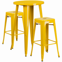 Flash Furniture 24'' Round Yellow Metal Indoor-Outdoor Bar Table Set with 2 Square Seat Backless Barstools