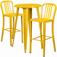 Flash Furniture 24'' Round Yellow Metal Indoor-Outdoor Bar Table Set with 2 Vertical Slat Back Barstools