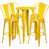 Flash Furniture 24'' Round Yellow Metal Indoor-Outdoor Bar Table Set with 4 Cafe Barstools