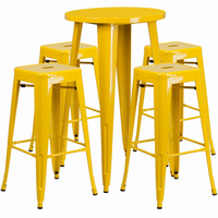 Flash Furniture 24'' Round Yellow Metal Indoor-Outdoor Bar Table Set with 4 Square Seat Backless Barstools