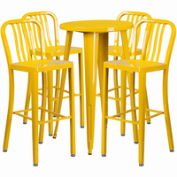 Flash Furniture 24'' Round Yellow Metal Indoor-Outdoor Bar Table Set with 4 Vertical Slat Back Barstools