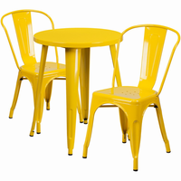 Flash Furniture 24'' Round Yellow Metal Indoor-Outdoor Table Set with 2 Cafe Chairs