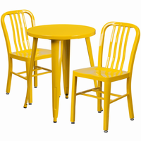 Flash Furniture 24'' Round Yellow Metal Indoor-Outdoor Table Set with 2 Vertical Slat Back Chairs