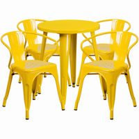Flash Furniture 24'' Round Yellow Metal Indoor-Outdoor Table Set with 4 Arm Chairs