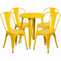 Flash Furniture 24'' Round Yellow Metal Indoor-Outdoor Table Set with 4 Cafe Chairs