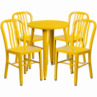 Flash Furniture 24'' Round Yellow Metal Indoor-Outdoor Table Set with 4 Vertical Slat Back Chairs