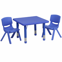 Flash Furniture 24'' Square Adjustable Blue Plastic Activity Table Set with 2 School Stack Chairs