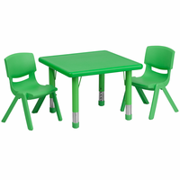 Flash Furniture 24'' Square Adjustable Green Plastic Activity Table Set with 2 School Stack Chairs