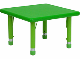 Flash Furniture 24'' Square Height Adjustable Green Plastic Activity Table