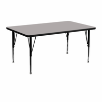 Flash Furniture 24''W x 48''L Rectangular Activity Table with 1.25'' Thick High Pressure Grey Laminate Top and Height Adjustable Preschool Legs