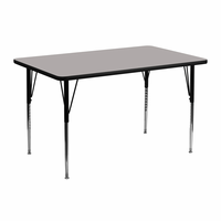 Flash Furniture 24''W x 48''L Rectangular Activity Table with 1.25'' Thick High Pressure Grey Laminate Top and Standard Height Adjustable Legs