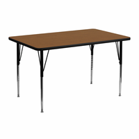 Flash Furniture 24''W x 48''L Rectangular Activity Table with 1.25'' Thick High Pressure Oak Laminate Top and Standard Height Adjustable Legs