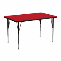Flash Furniture 24''W x 48''L Rectangular Activity Table with 1.25'' Thick High Pressure Red Laminate Top and Standard Height Adjustable Legs