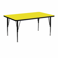 Flash Furniture 24''W x 48''L Rectangular Activity Table with 1.25'' Thick High Pressure Yellow Laminate Top and Height Adjustable Preschool Legs