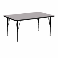Flash Furniture 24''W x 48''L Rectangular Activity Table with Grey Thermal Fused Laminate Top and Height Adjustable Preschool Legs
