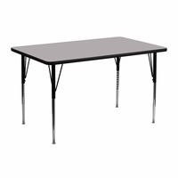 Flash Furniture 24''W x 48''L Rectangular Activity Table with Grey Thermal Fused Laminate Top and Standard Height Adjustable Legs