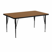 Flash Furniture 24''W x 48''L Rectangular Activity Table with Oak Thermal Fused Laminate Top and Height Adjustable Preschool Legs