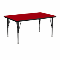 Flash Furniture 24''W x 48''L Rectangular Activity Table with Red Thermal Fused Laminate Top and Height Adjustable Preschool Legs