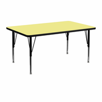 Flash Furniture 24''W x 48''L Rectangular Activity Table with Yellow Thermal Fused Laminate Top and Height Adjustable Preschool Legs