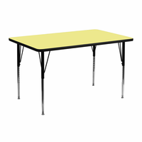 Flash Furniture 24''W x 48''L Rectangular Activity Table with Yellow Thermal Fused Laminate Top and Standard Height Adjustable Legs