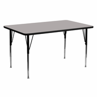 Flash Furniture 24''W x 60''L Rectangular Activity Table with 1.25'' Thick High Pressure Grey Laminate Top and Standard Height Adjustable Legs