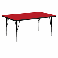 Flash Furniture 24''W x 60''L Rectangular Activity Table with 1.25'' Thick High Pressure Red Laminate Top and Height Adjustable Preschool Legs