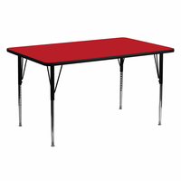 Flash Furniture 24''W x 60''L Rectangular Activity Table with 1.25'' Thick High Pressure Red Laminate Top and Standard Height Adjustable Legs