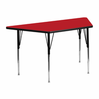 Flash Furniture 25.5''W x 46.25''L Trapezoid Activity Table with 1.25'' Thick High Pressure Red Laminate Top and Standard Height Adjustable Legs