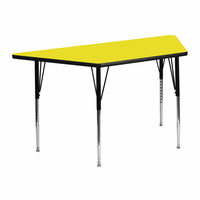 Flash Furniture 25.5''W x 46.25''L Trapezoid Activity Table with 1.25'' Thick High Pressure Yellow Laminate Top and Standard Height Adjustable Legs