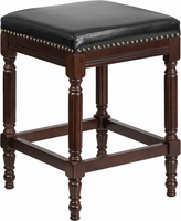 Flash Furniture 26'' High Backless Cappuccino Wood Counter Height Stool with Black Leather Seat