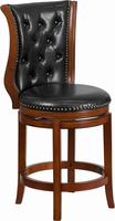 Flash Furniture 26'' High Brandy Wood Counter Height Stool with Black Leather Swivel Seat