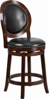 Flash Furniture 26'' High Cappuccino Counter Height Wood Barstool with Black Leather Swivel Seat