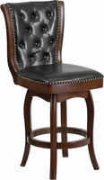 Flash Furniture 26'' High Cappuccino Wood Counter Height Stool with Black Leather Swivel Seat