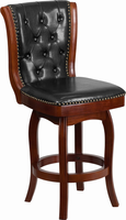 Flash Furniture 26'' High Cherry Wood Counter Height Stool with Black Leather Swivel Seat