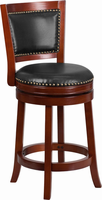 Flash Furniture 26'' High Dark Cherry Wood Counter Height Stool with Walnut Leather Swivel Seat