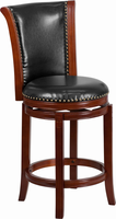 Flash Furniture 26'' High Dark Chestnut Wood Counter Height Stool with Black Leather Swivel Seat