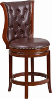 Flash Furniture 26'' High Dark Chestnut Wood Counter Height Stool with Hepatic Leather Swivel Seat