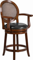 Flash Furniture 26'' High Expresso Wood Counter Height Stool with Arms and Black Leather Swivel Seat
