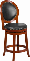 Flash Furniture 26'' High Light Cherry Counter Height Wood Barstool with Walnut Leather Swivel Seat