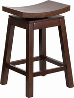 Flash Furniture 26'' High Saddle Seat Cappuccino Wood Counter Height Stool with Auto Swivel Seat Return