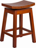 Flash Furniture 26'' High Saddle Seat Light Cherry Wood Counter Height Stool with Auto Swivel Seat Return