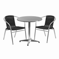 Flash Furniture 27.5'' Round Aluminum Indoor-Outdoor Table with 2 Black Rattan Chairs