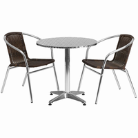 Flash Furniture 27.5'' Round Aluminum Indoor-Outdoor Table with 2 Dark Brown Rattan Chairs