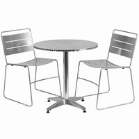 Flash Furniture 27.5'' Round Aluminum Indoor-Outdoor Table with 2 Silver Metal Stack Chairs