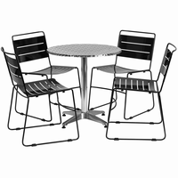 Flash Furniture 27.5'' Round Aluminum Indoor-Outdoor Table with 4 Black Metal Stack Chairs